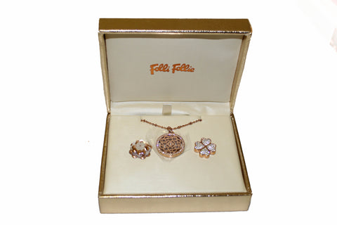 Authentic New Folli Follie Winter Dream 2015 Rose Gold Plated Necklace Set