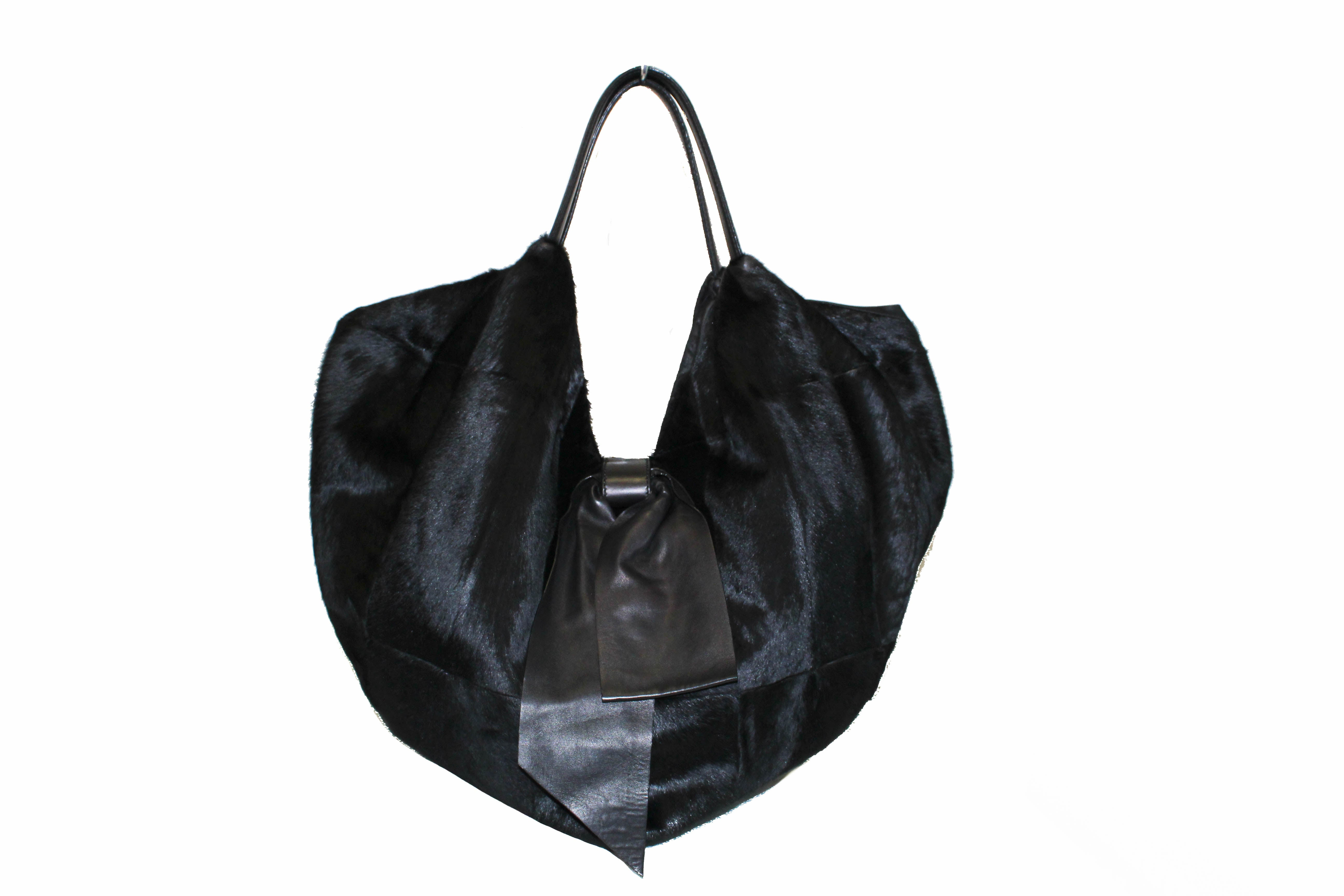 Authentic Valentino Black Bow Pony Fur Hobo Shoulder Bag