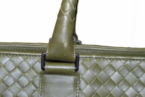 Authentic Bottega Veneta Green Intrecciato Calfskin Leather Briefcase