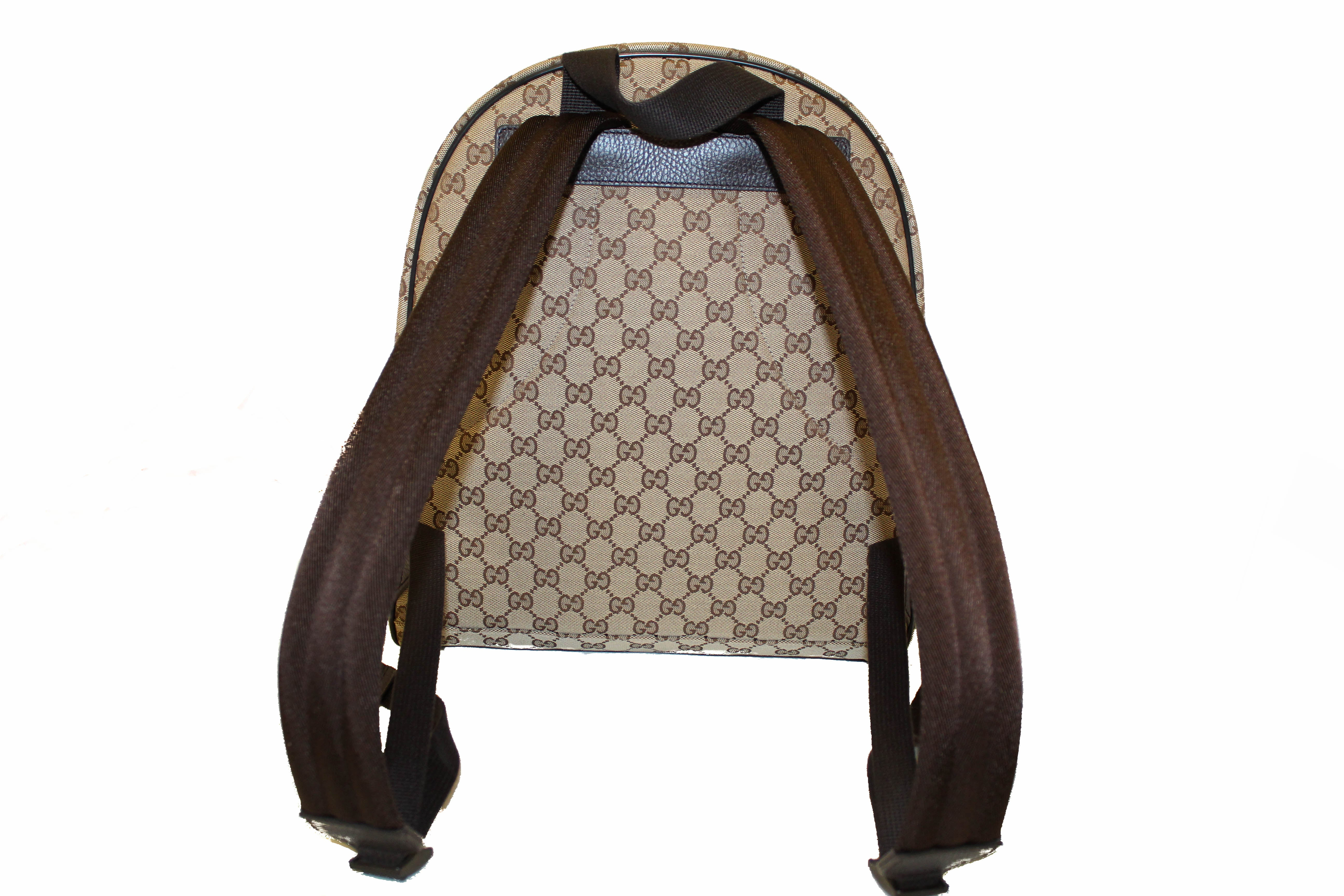 Authentic New Gucci Brown GG Fabric Backpack