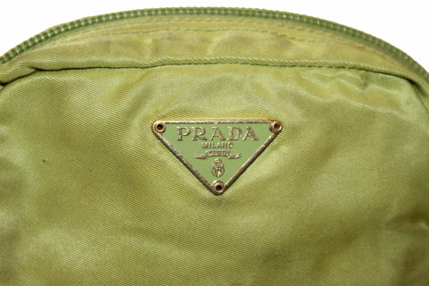 Authentic Prada Green Nylon Small Cosmetic Pouch