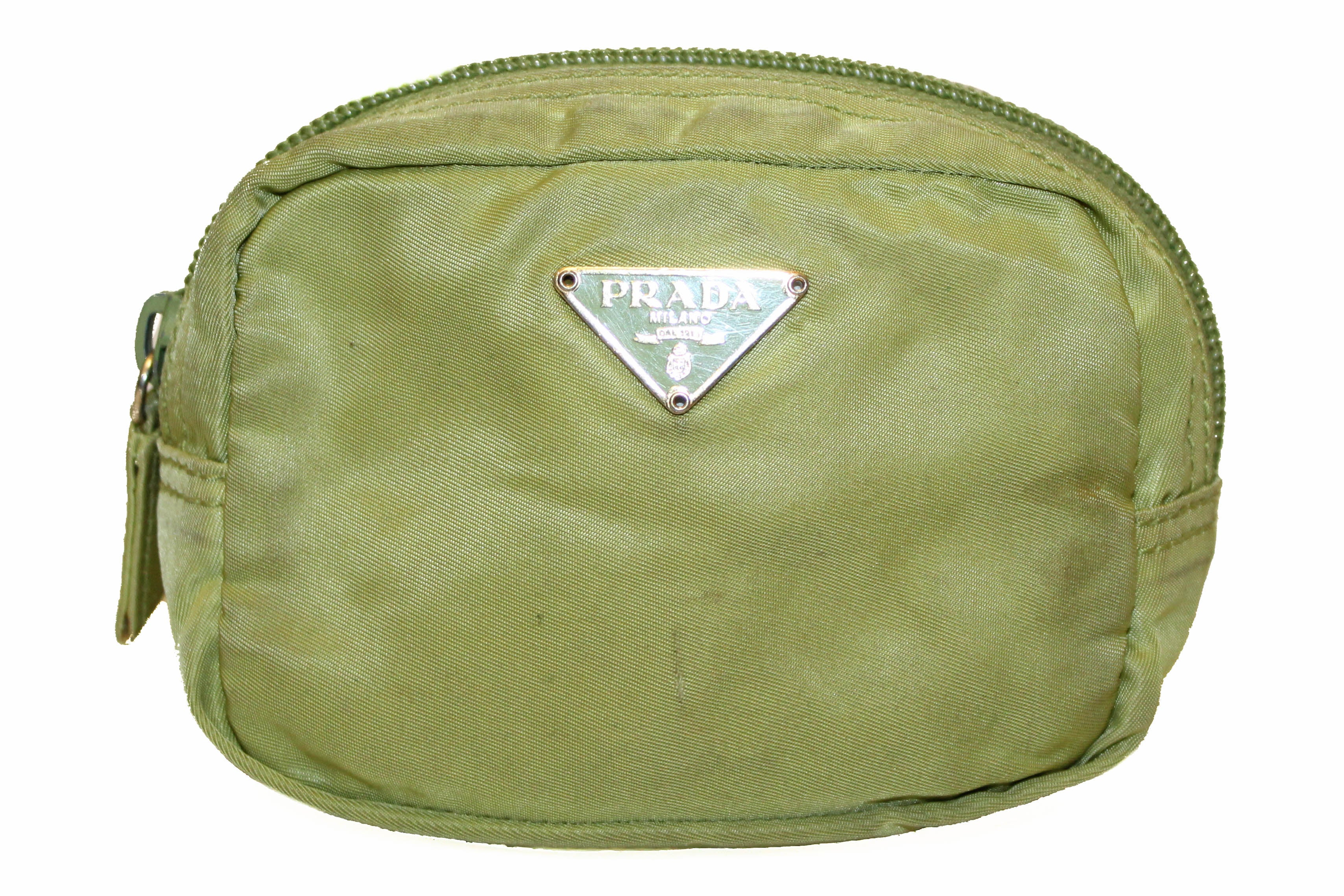 abb005498db2 Authentic Prada Green Nylon Small Cosmetic Pouch – Paris Station Shop