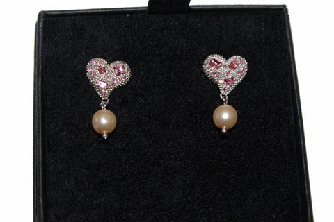 Authentic Miu Miu Nickel Free Heart with Pearls and Swarovski Crystals Earrings