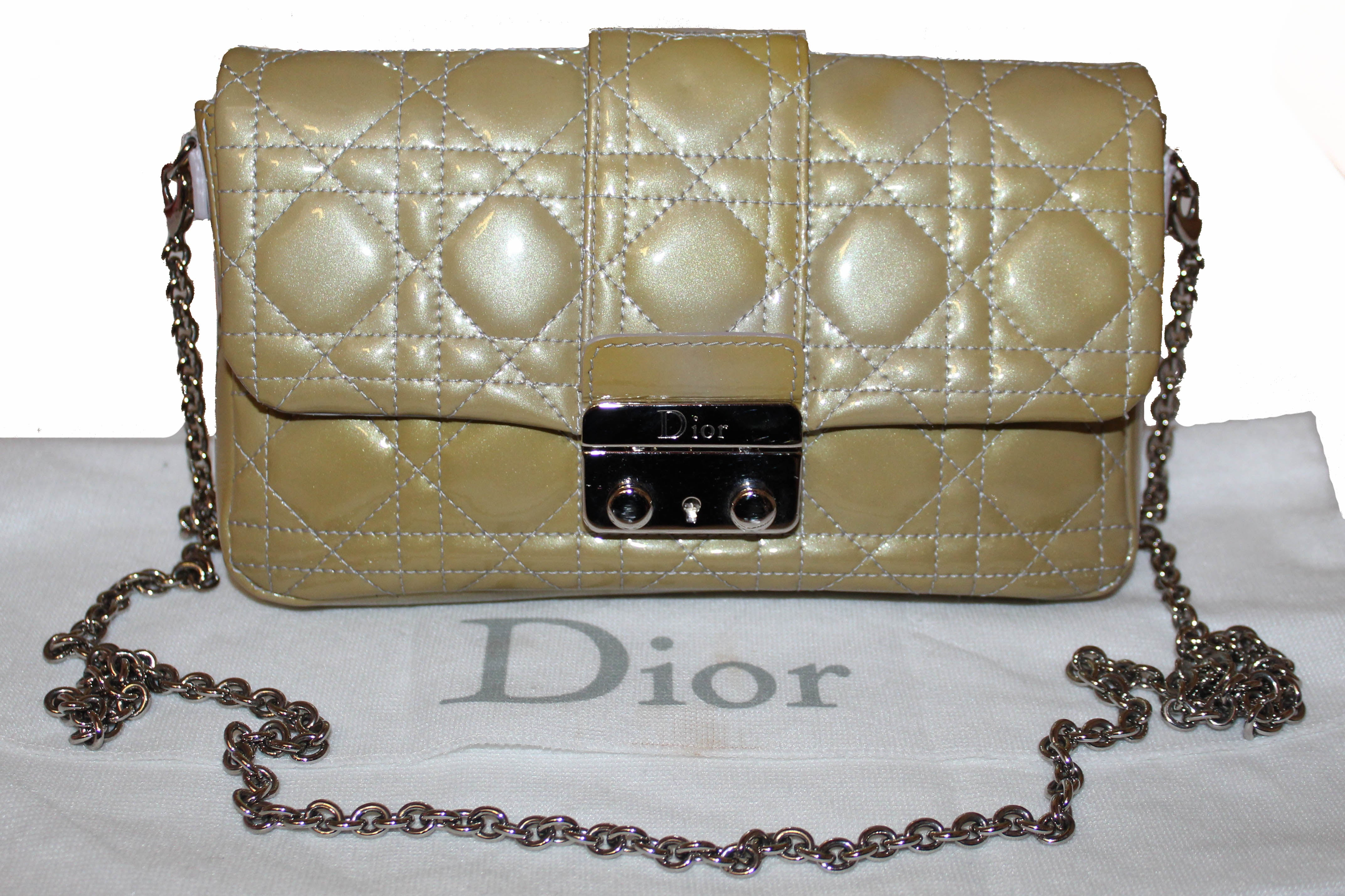 Authentic Christian Dior Green Cannage Quilted Patent Leather Miss Dior Promenade Crossbody Clutch Bag