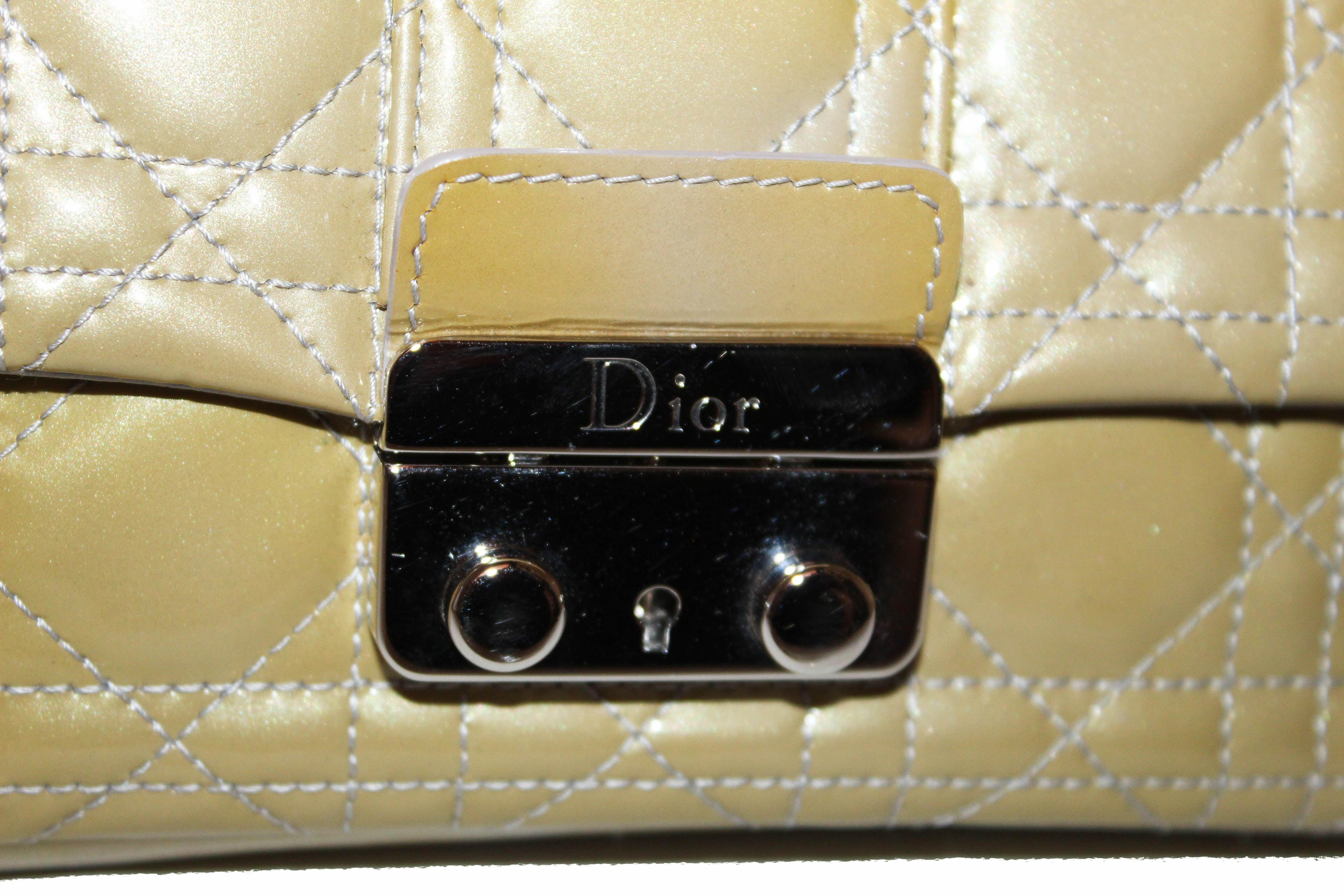 35332f454f ... Authentic Christian Dior Green Cannage Quilted Patent Leather Miss Dior  Promenade Crossbody Clutch Bag ...