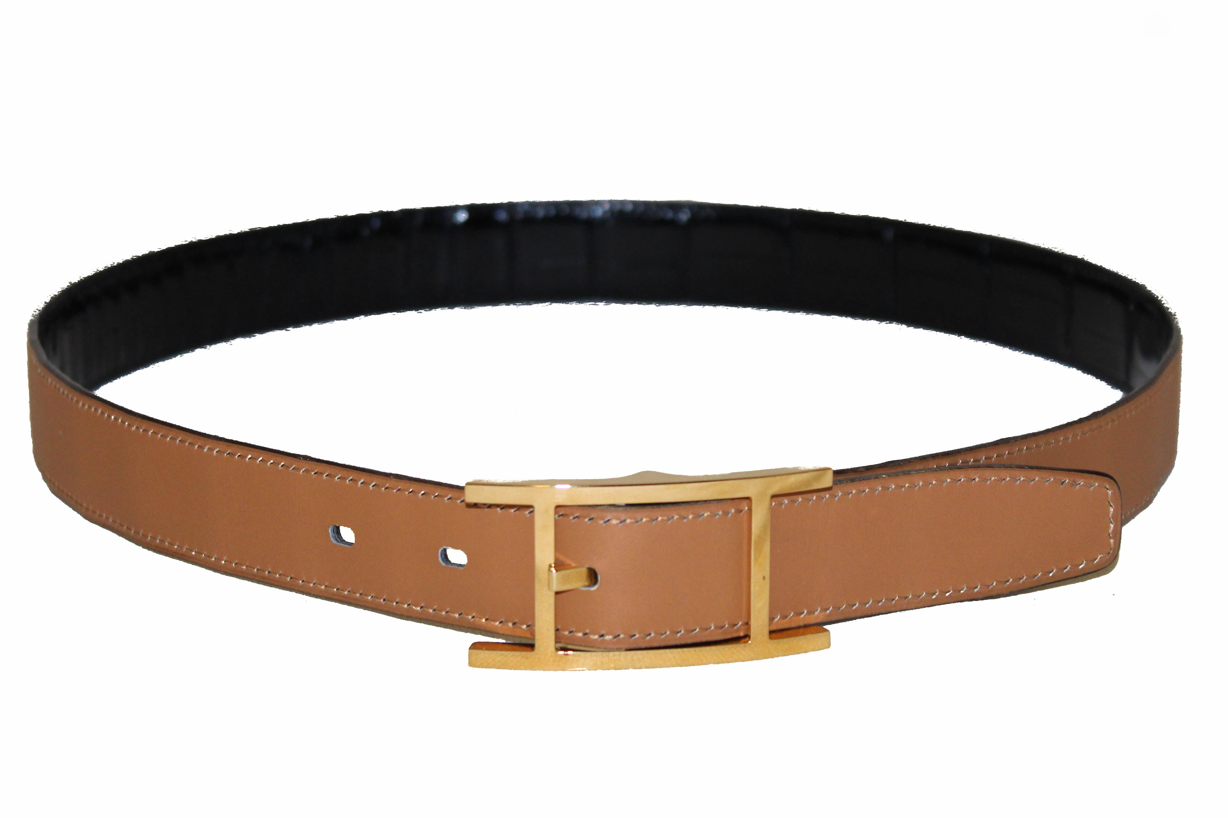Authentic Hermes Reversible Black Crocodile Embossed/Brown Calfskin Leather Belt
