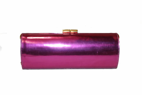 Authentic Jimmy Choo Pink Tube Mirrored Leather Clutch