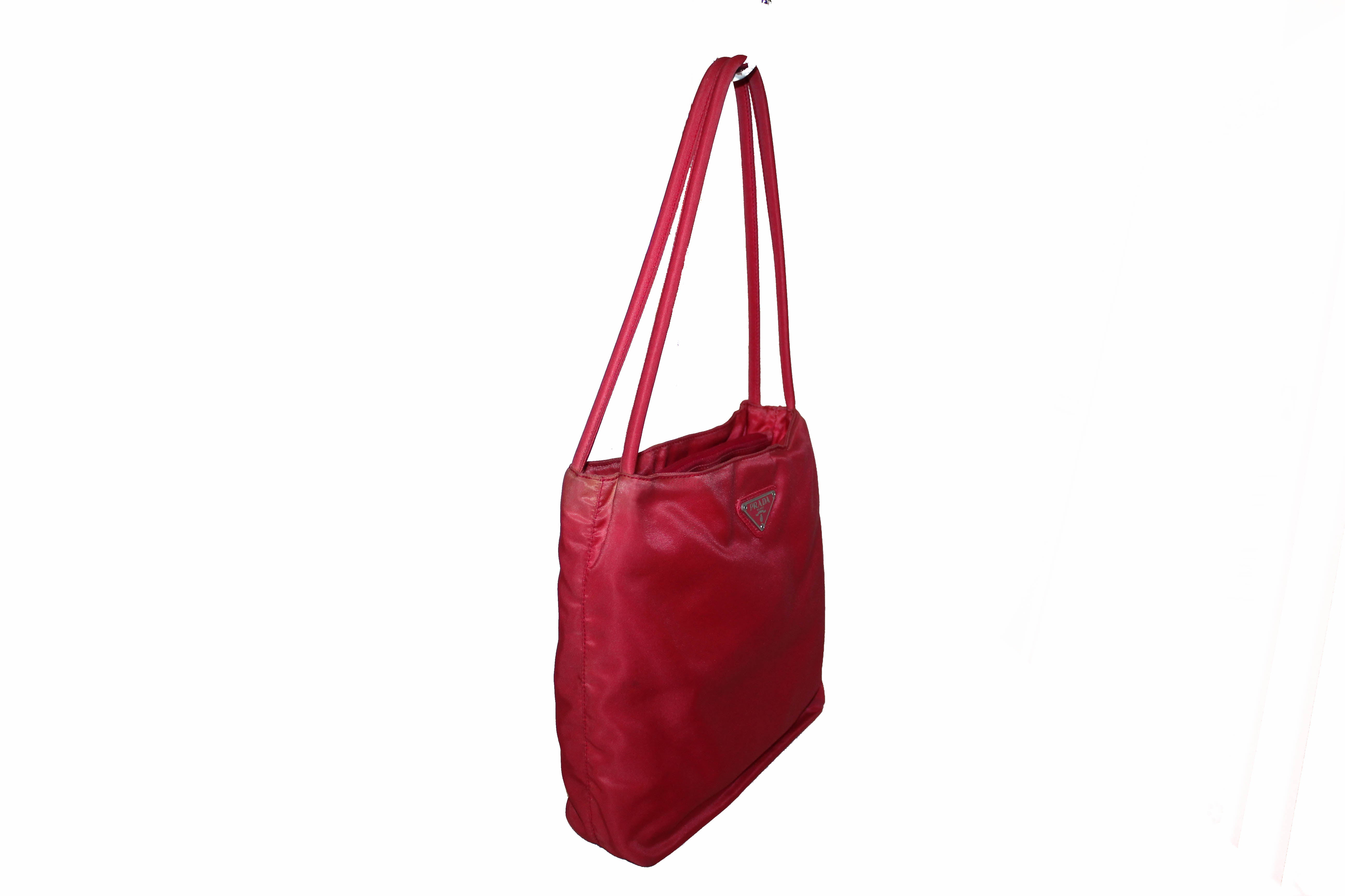 Authentic Prada Red Nylon Small Shoulder Bag