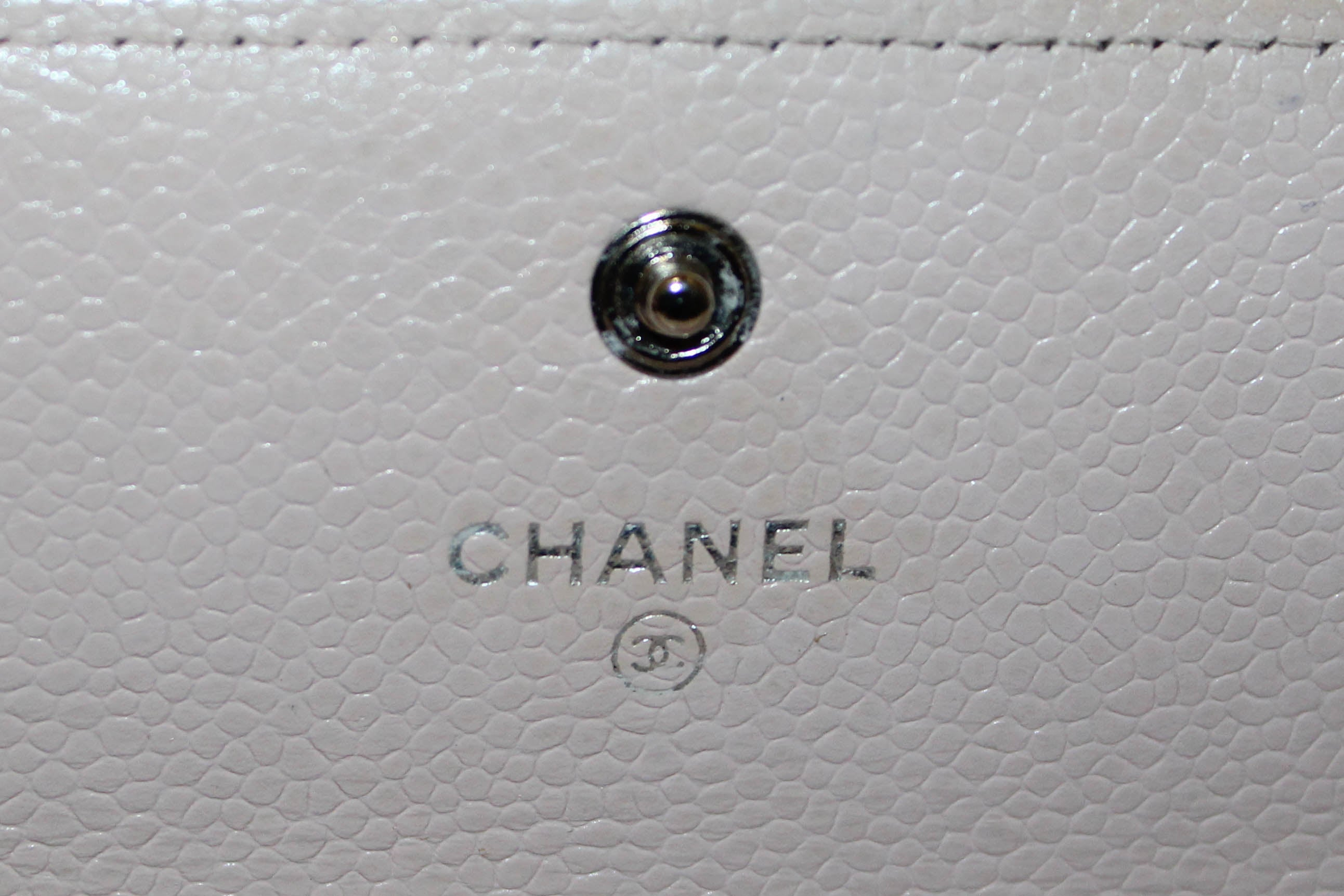 Authentic Chanel Light Pink Quilted Caviar Flap Wallet