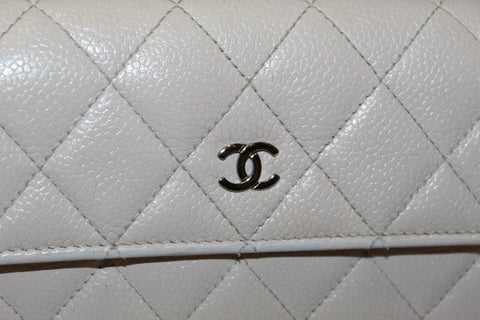 3abf9a73838c ... Authentic Chanel Light Pink Quilted Caviar Flap Wallet