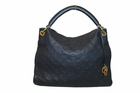 Authentic Louis Vuitton Blue Empreinte Leather Artsy MM Hobo Bag