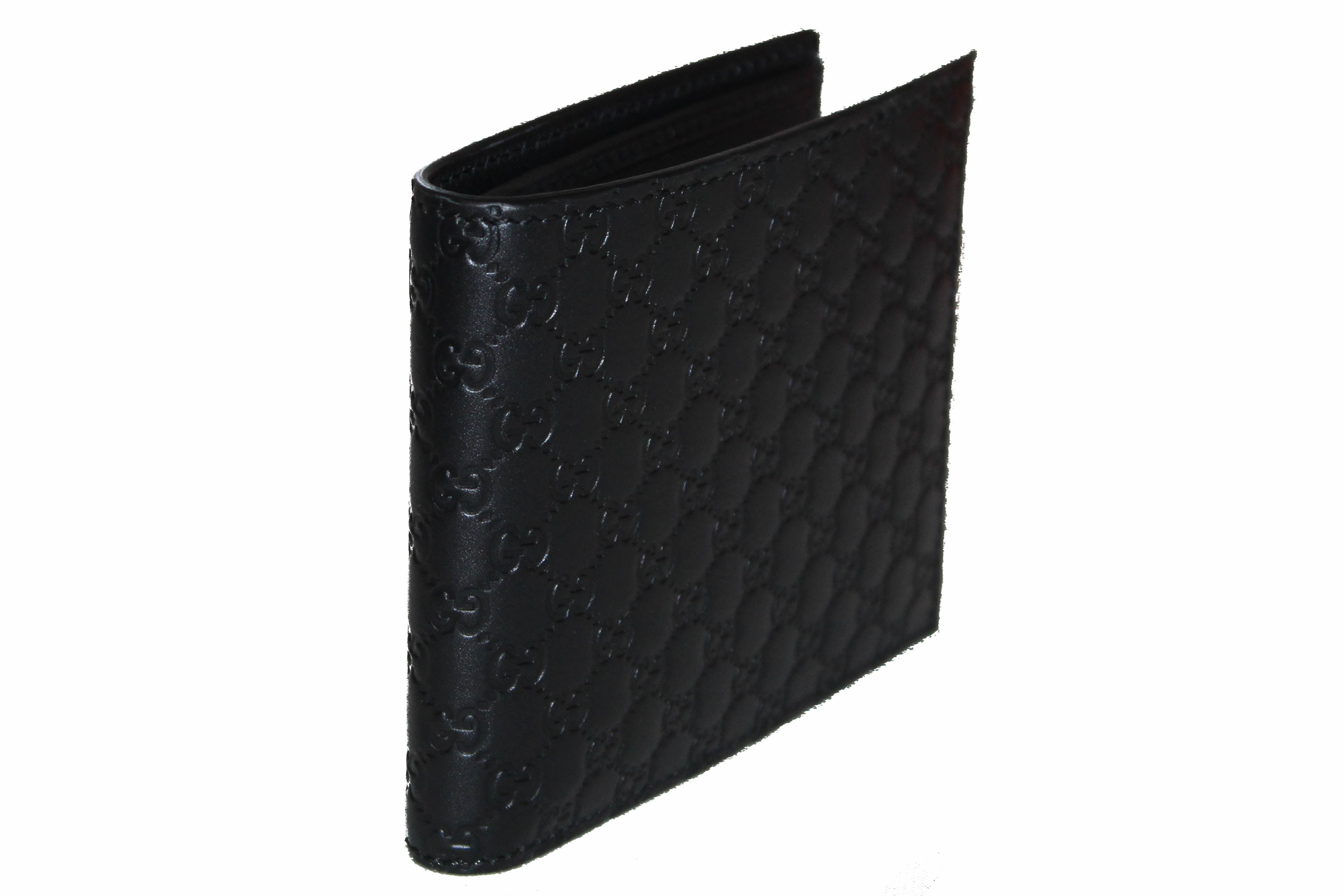 Authentic New Gucci Black Microguccissima Leather Bi-fold Men's Wallet 260987