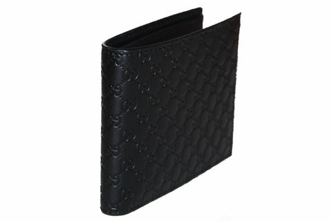 Authentic New Gucci Black Micro Guccissima Leather Bi-fold Men's Wallet