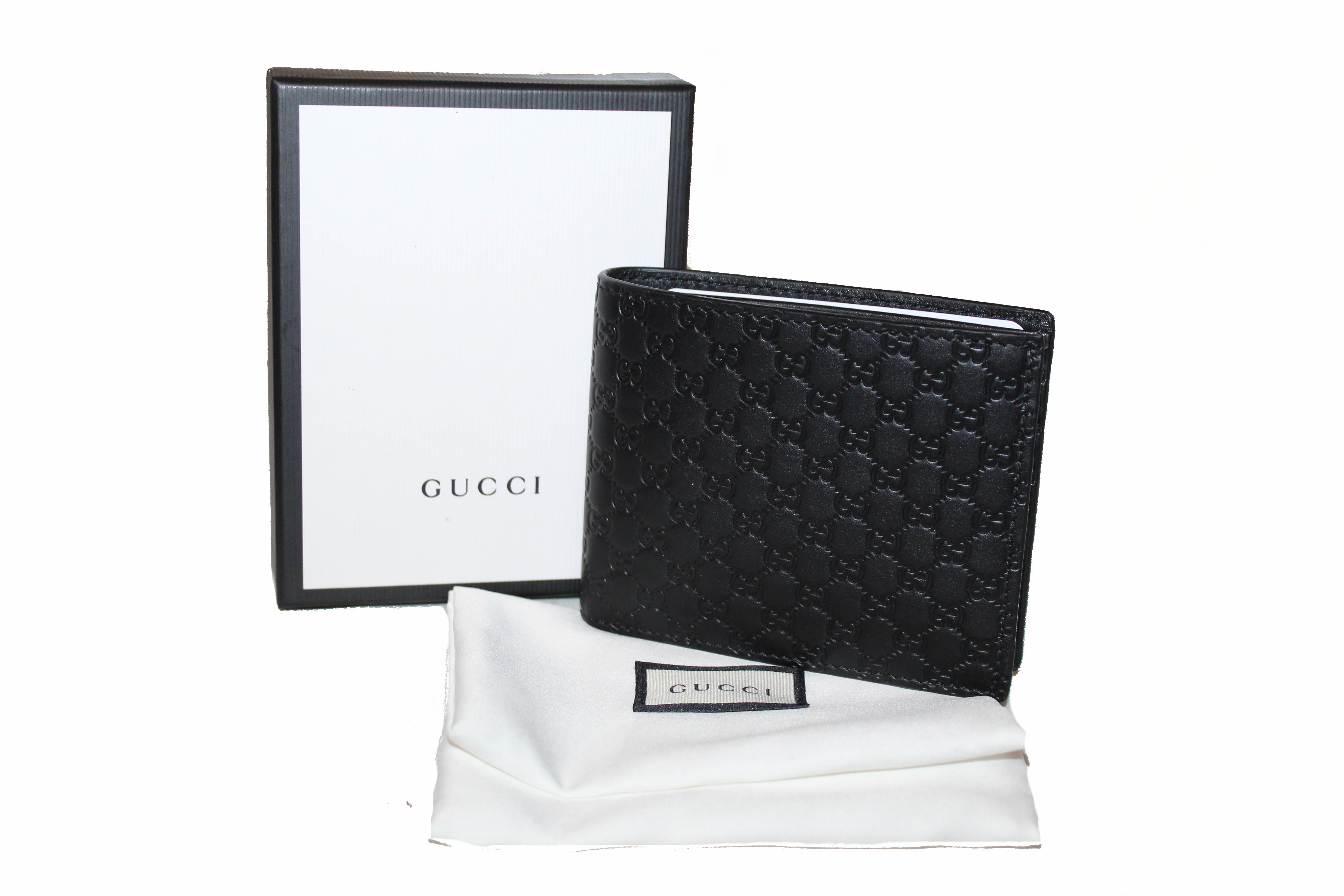 98aebdb107a072 Authentic New Gucci Black Micro Guccissima Leathe Bi-fold Men's Wallet ...