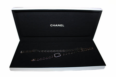 Authentic Chanel  Triple Row Steel & Black Ceramic with Diamonds Premie're Mini Watch