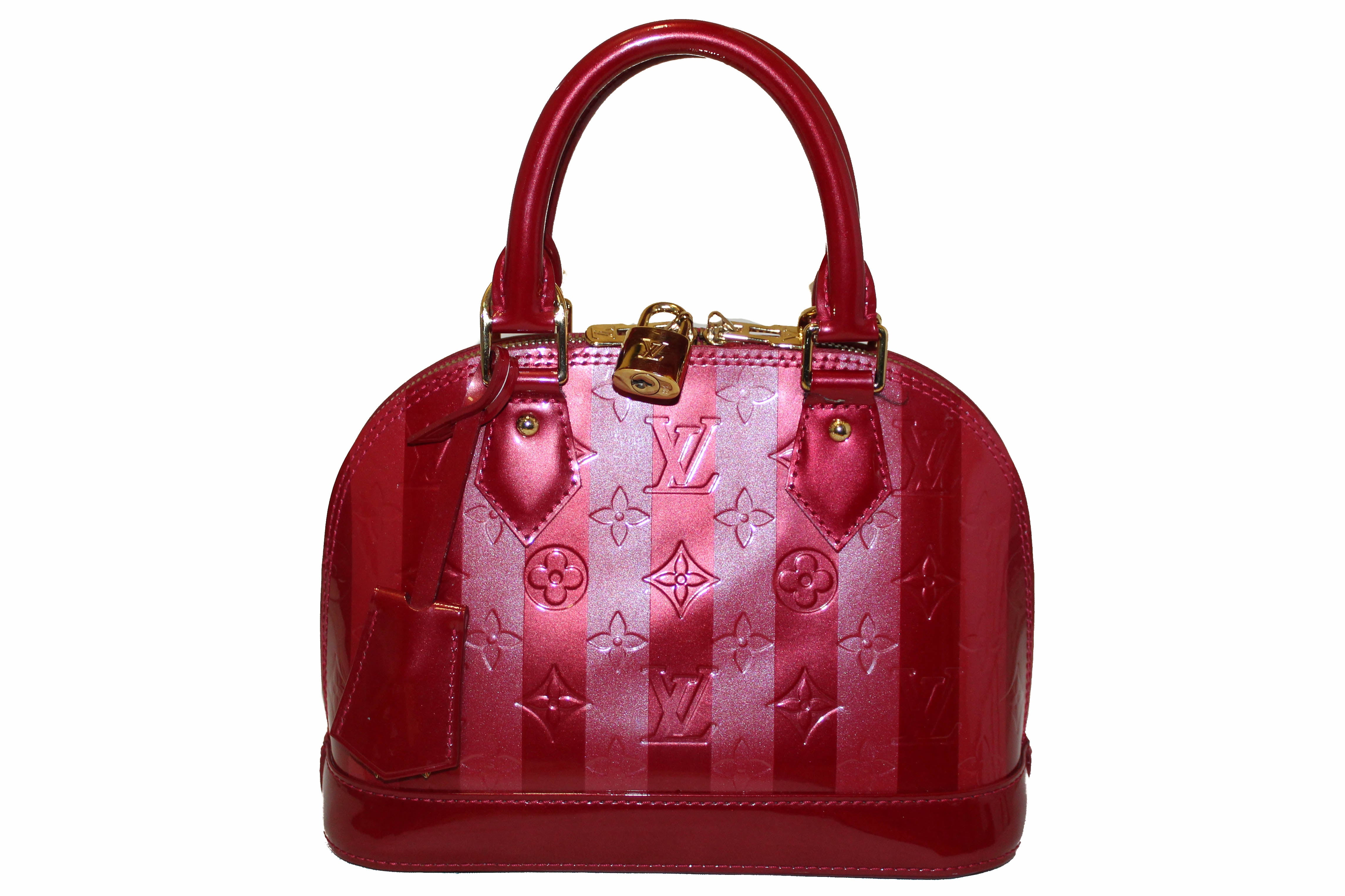 Authentic Louis Vuitton Vernis Rayures Alma BB Pomme D'Amour Hand/Crossbody Bag