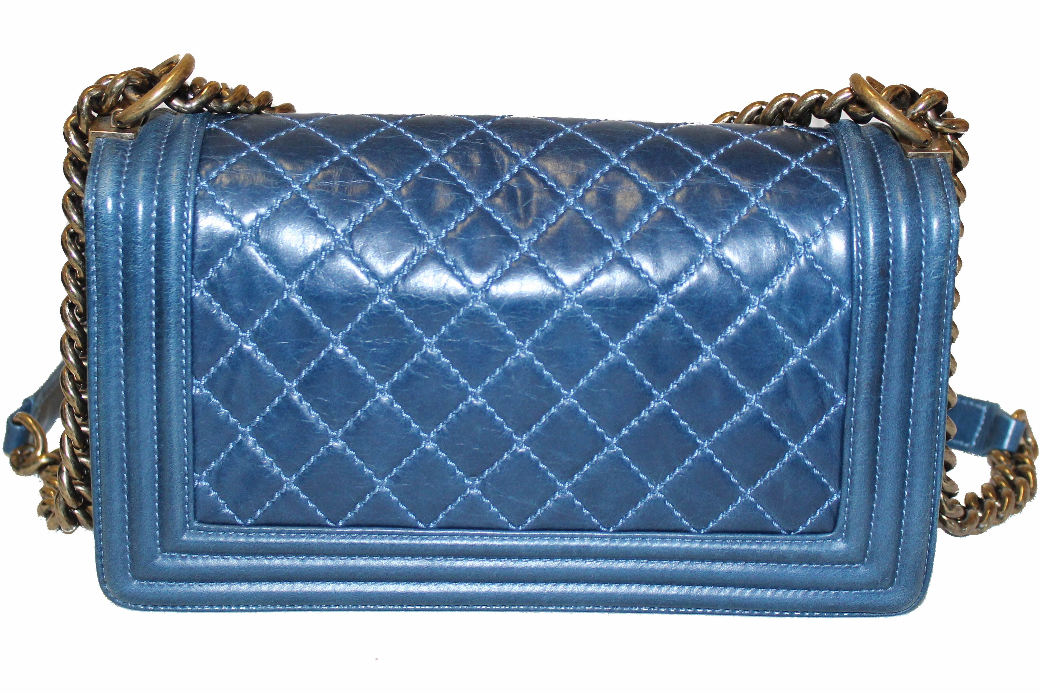 Authentic Chanel Blue Quilted Aged Calfskin Old Medium Boy Shoulder Bag