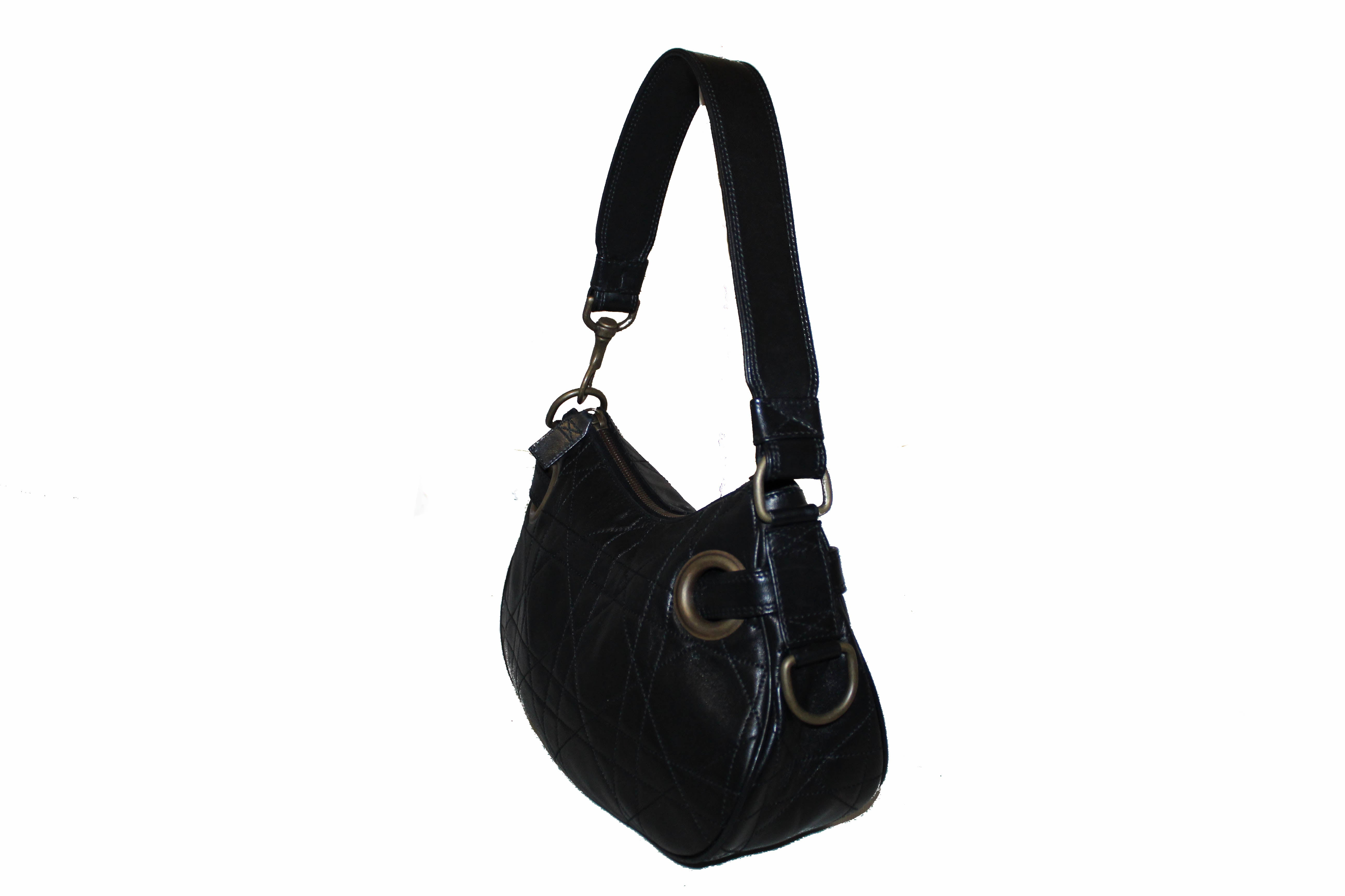 Authentic Christian Dior Black Lambskin Cannage Small Shoulder Bag