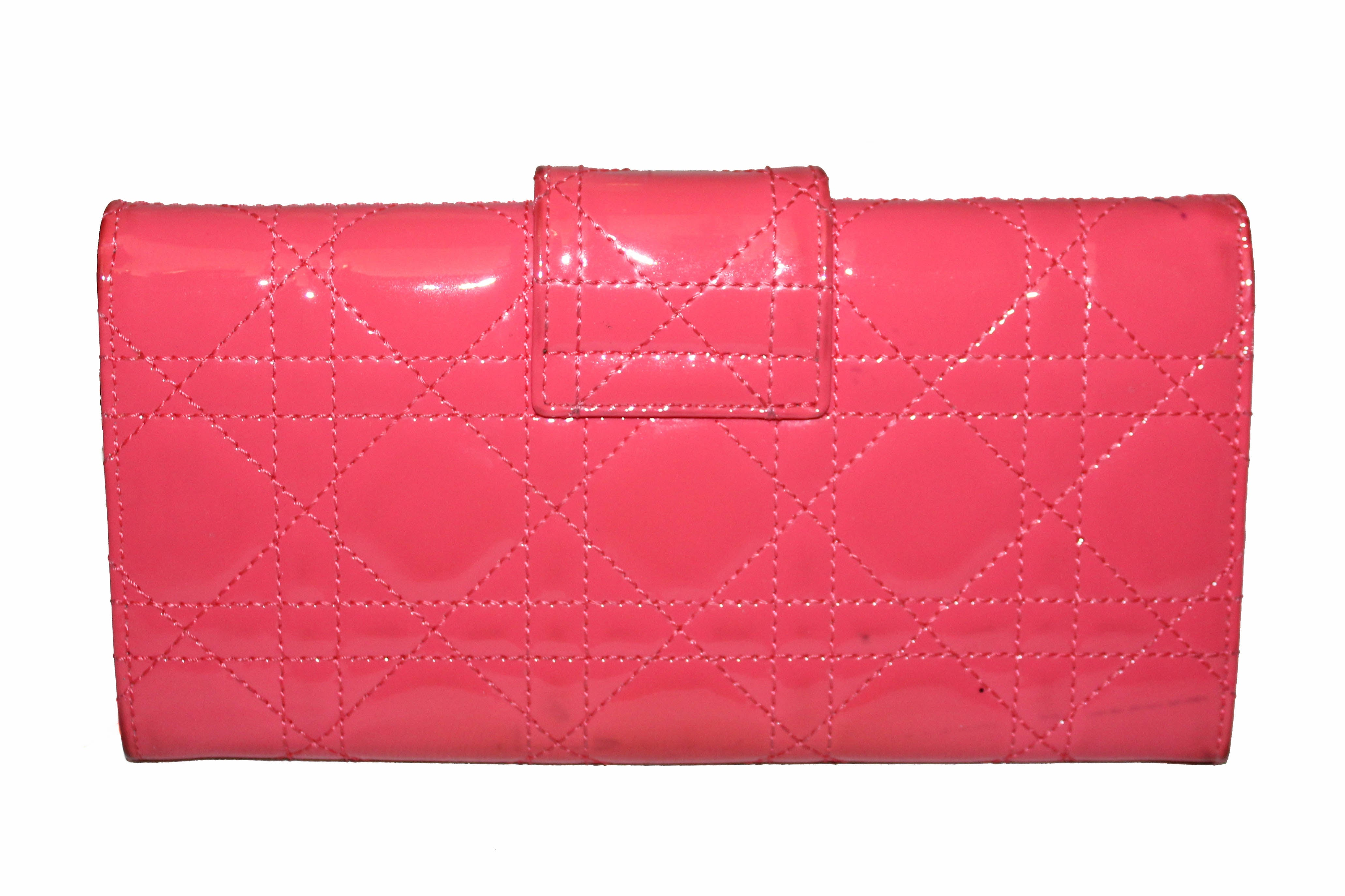 Authentic Christian Dior Coral Red Patent Cannage Miss Dior Rendezvous Wallet
