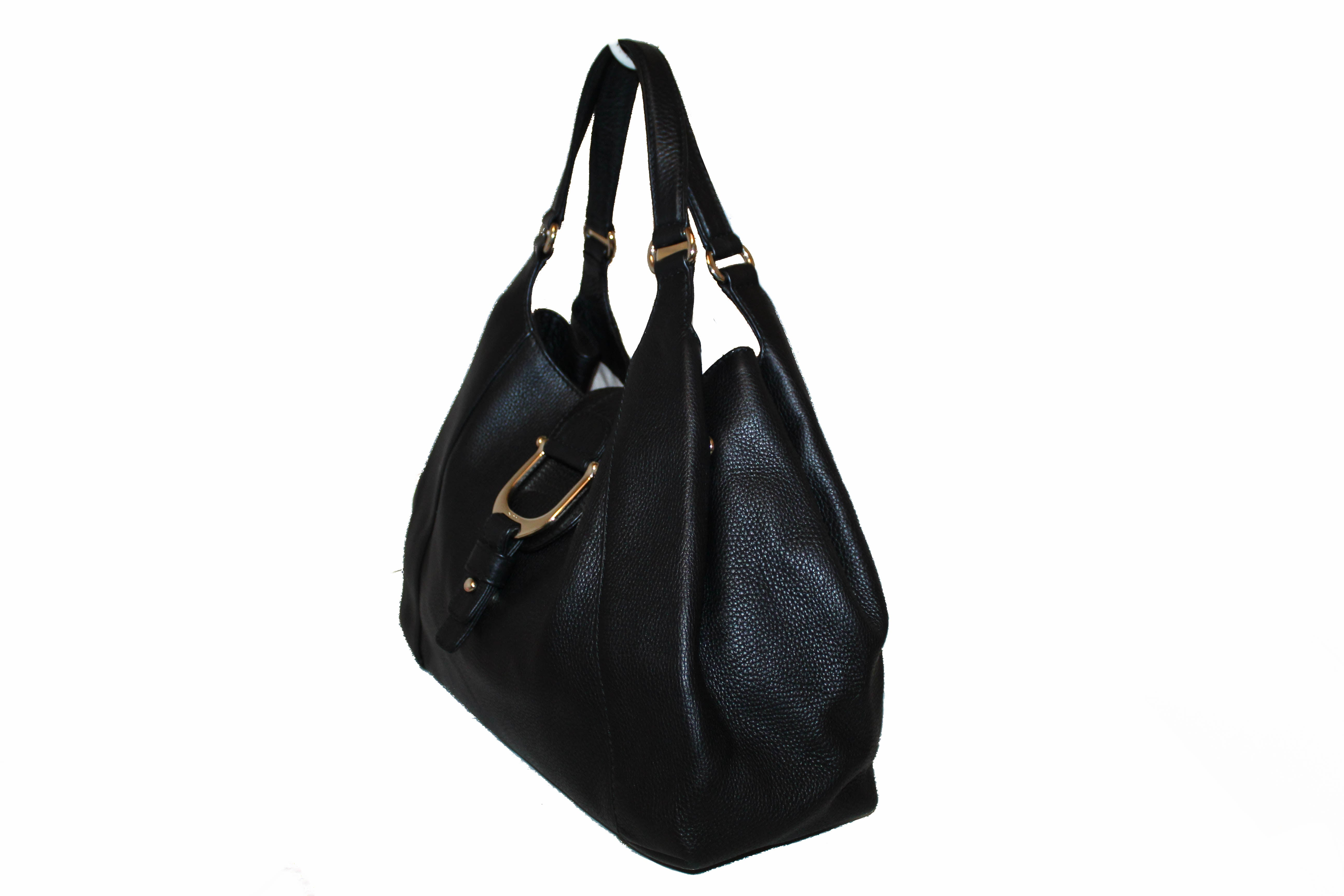Authentic Gucci D-ring Black Pebbled Leather Hobo Shoulder Bag
