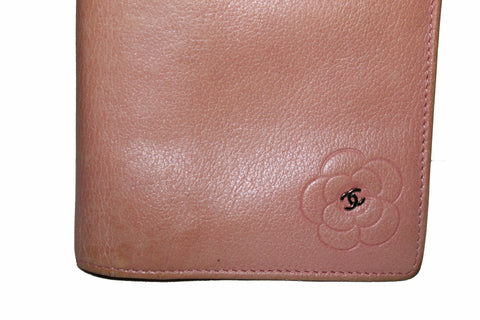 Authentic Chanel Pink Calfskin Leather Flap Camellia Wallet