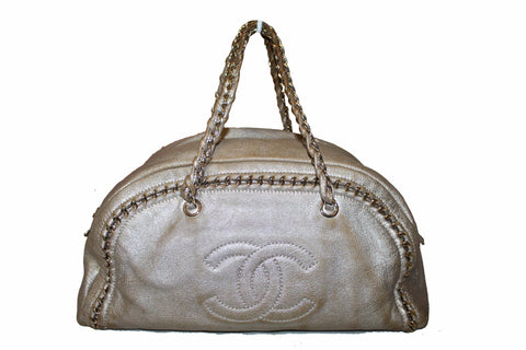 Authentic Chanel Metallic Gold Chain Around Shoulder Bag