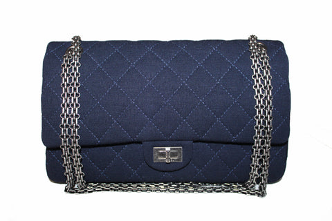 Authentic Chanel Navy Blue Fabric Canvas Large 2.55 Shoulder Bag