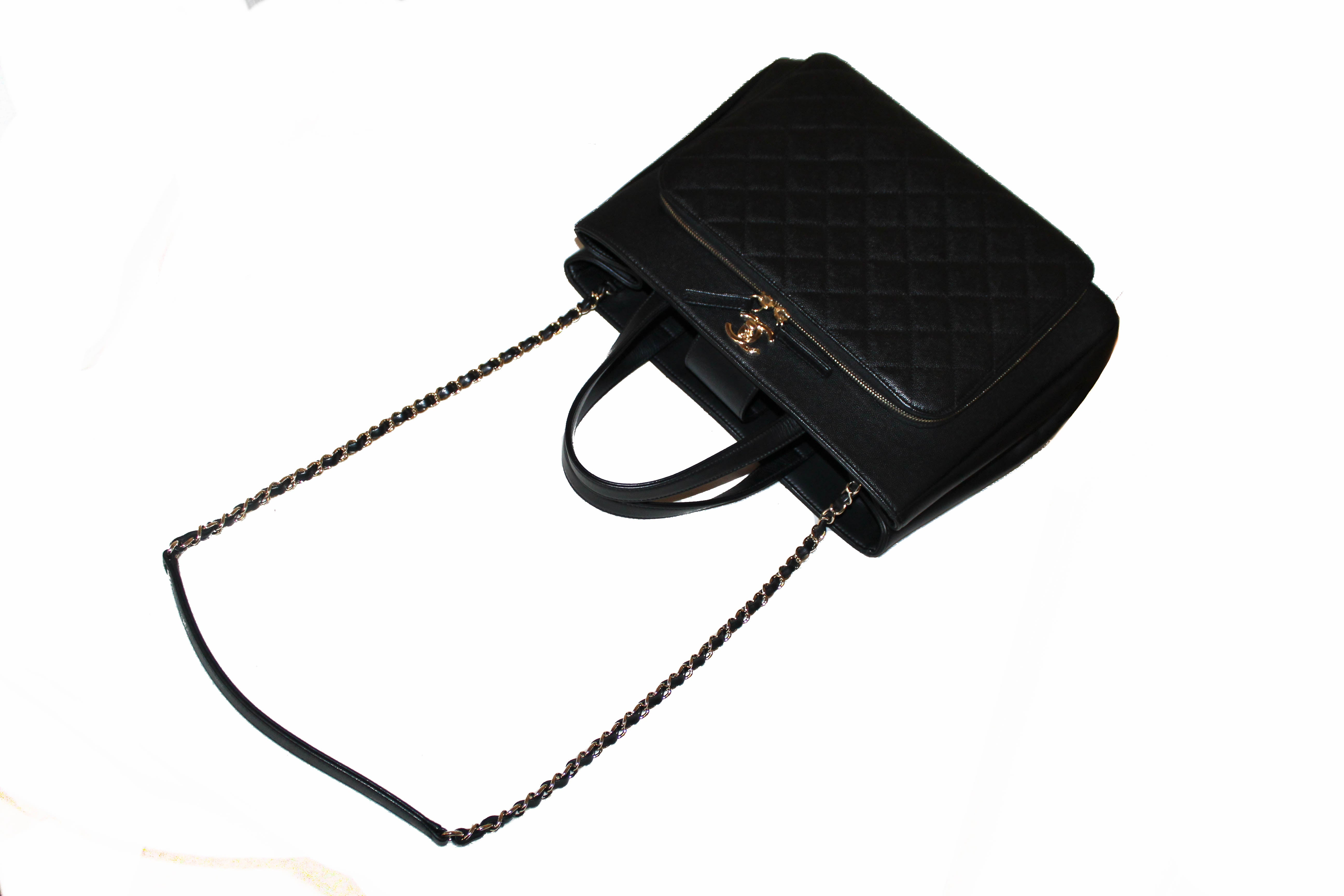 Authentic Chanel Black Caviar Leather Large Tote Shoulder Bag