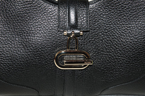 Authentic Gucci Black Pebbled Leather Small Tote Bag