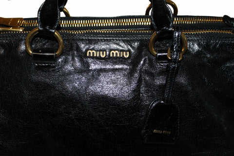Authentic Miu Miu Black Vitello Shine Leather Hand/Shoulder Bag