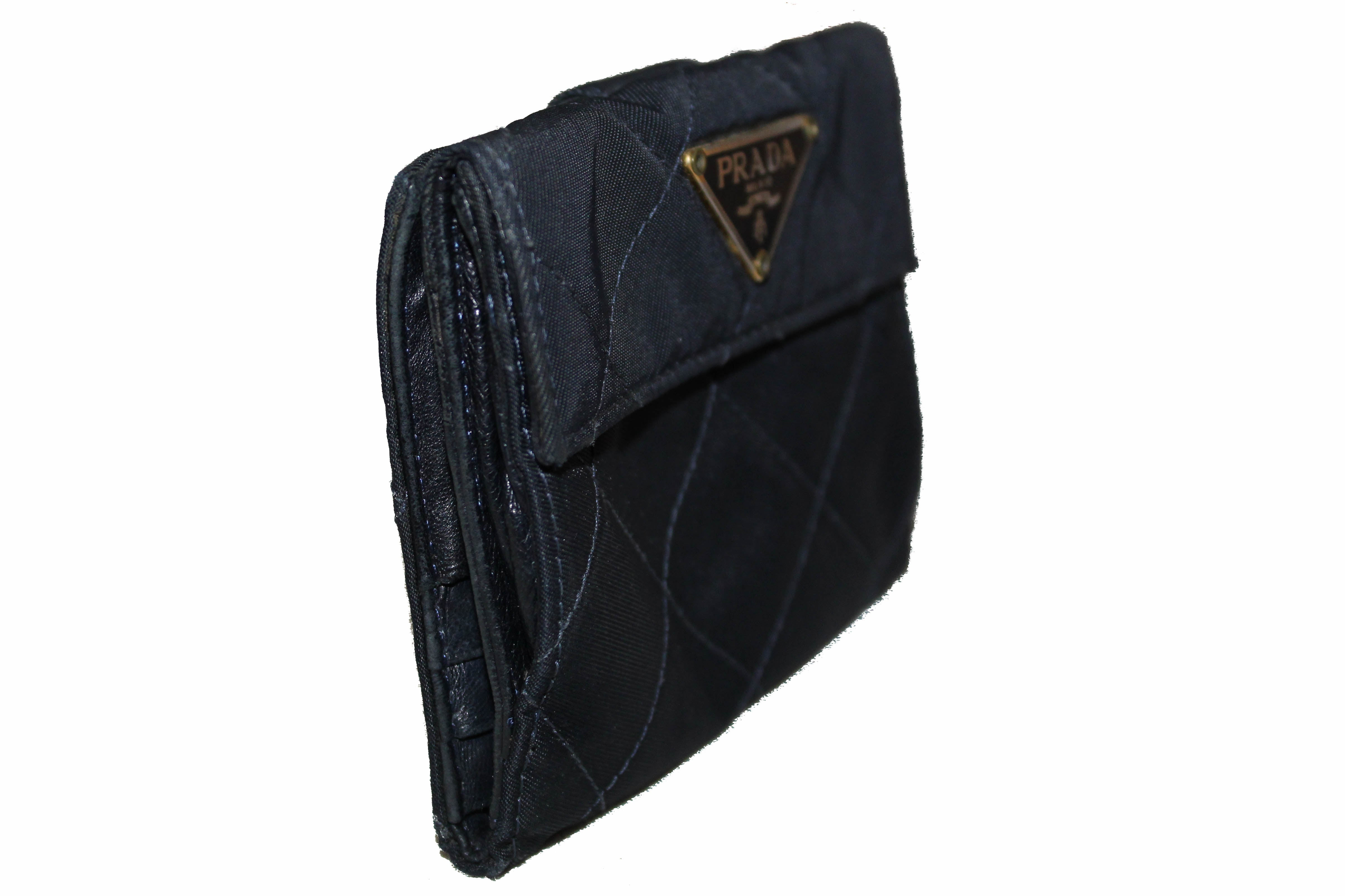 Authentic Prada Navy Blue Nylon Small Compact Wallet