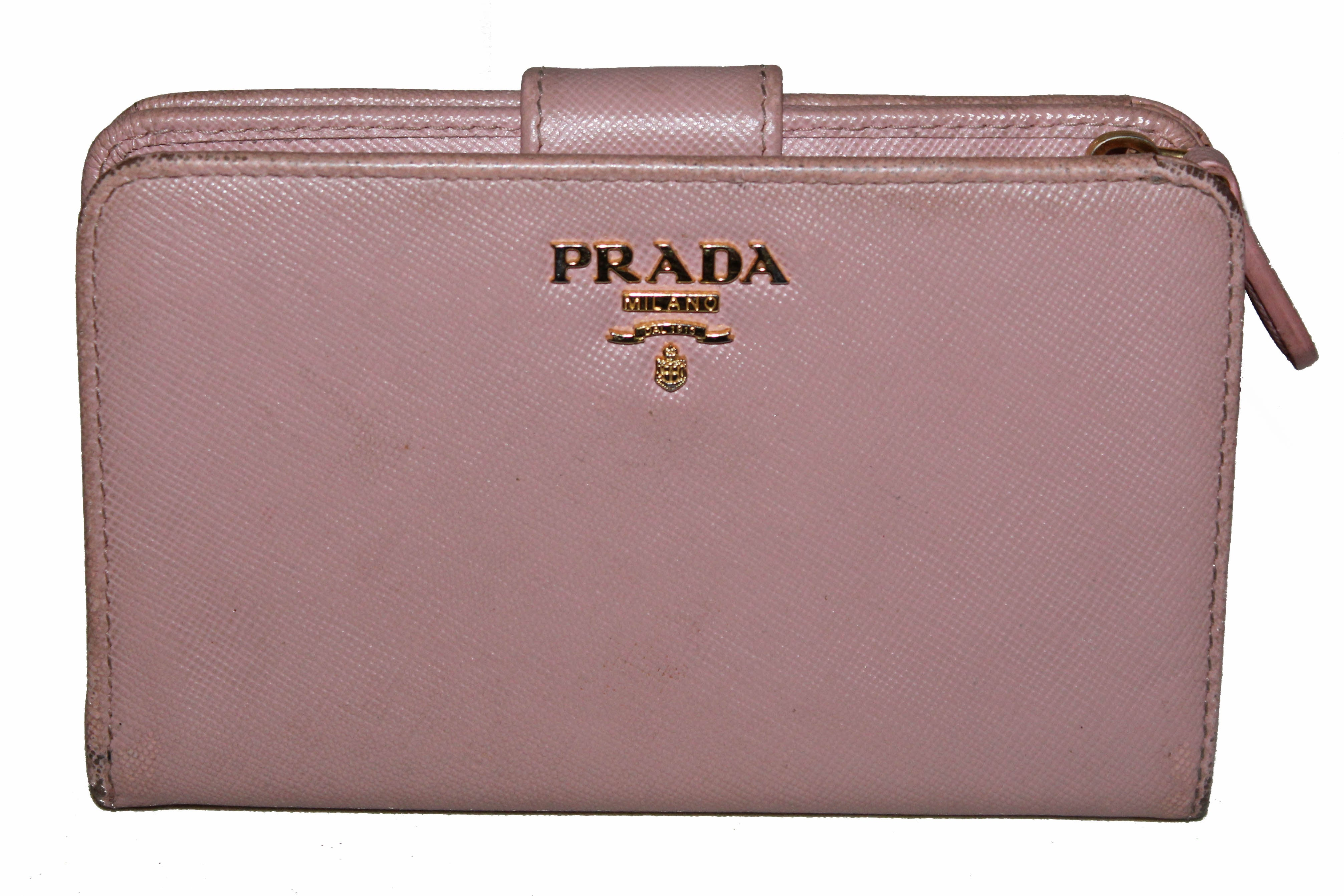 43fcb0cfca Authentic Prada Light Pink Saffiano Leather Compact Wallet
