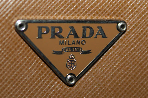 Authentic Prada Brown Saffiano Leather Small Compact Wallet