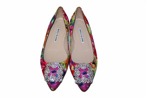 db77499719f30 Authentic Manolo Blahnik Hangisi Floral-Print Buckle Flat Size 37.5 ...