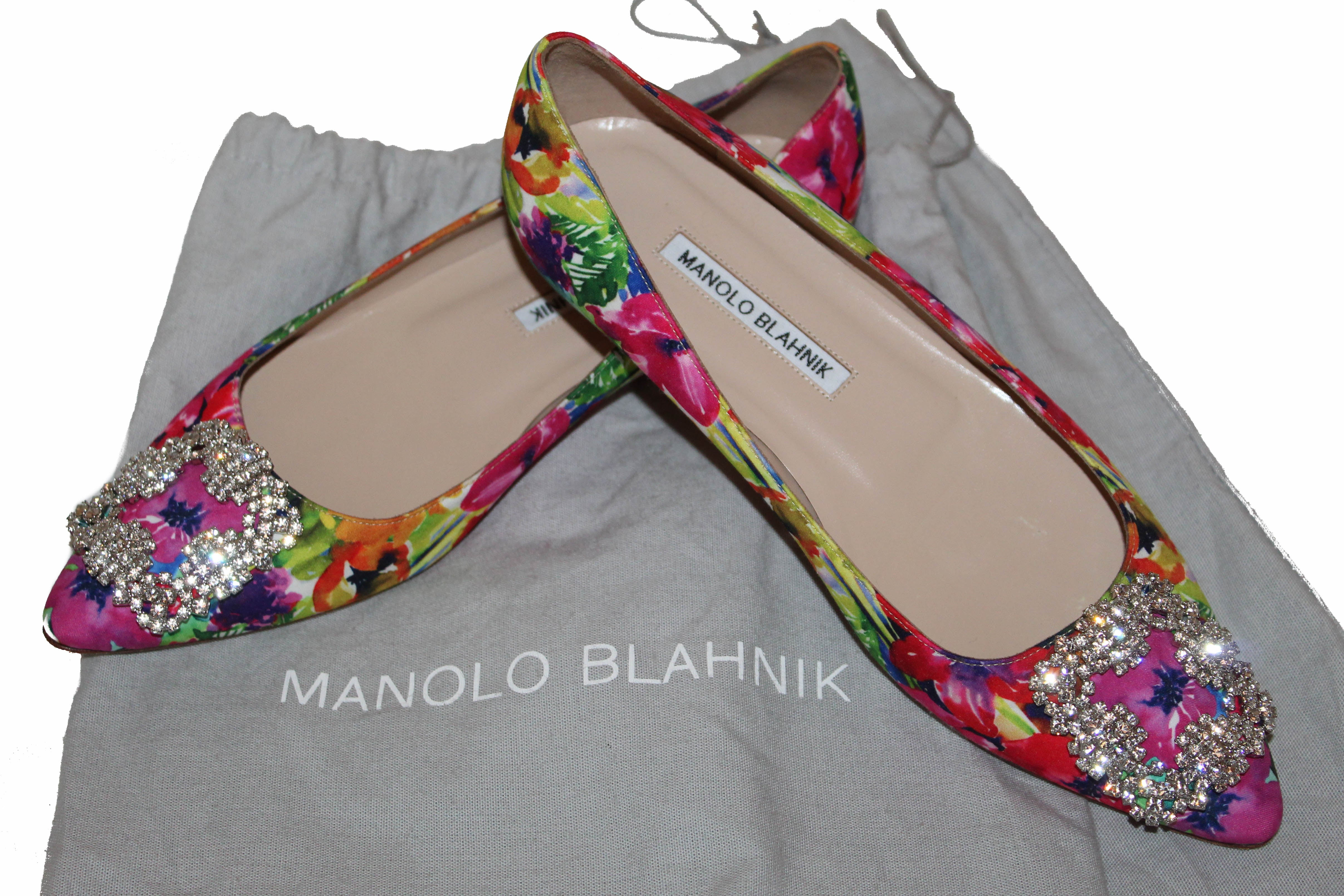 Authentic Manolo Blahnik Hangisi Floral-Print Buckle Flat Size 37.5