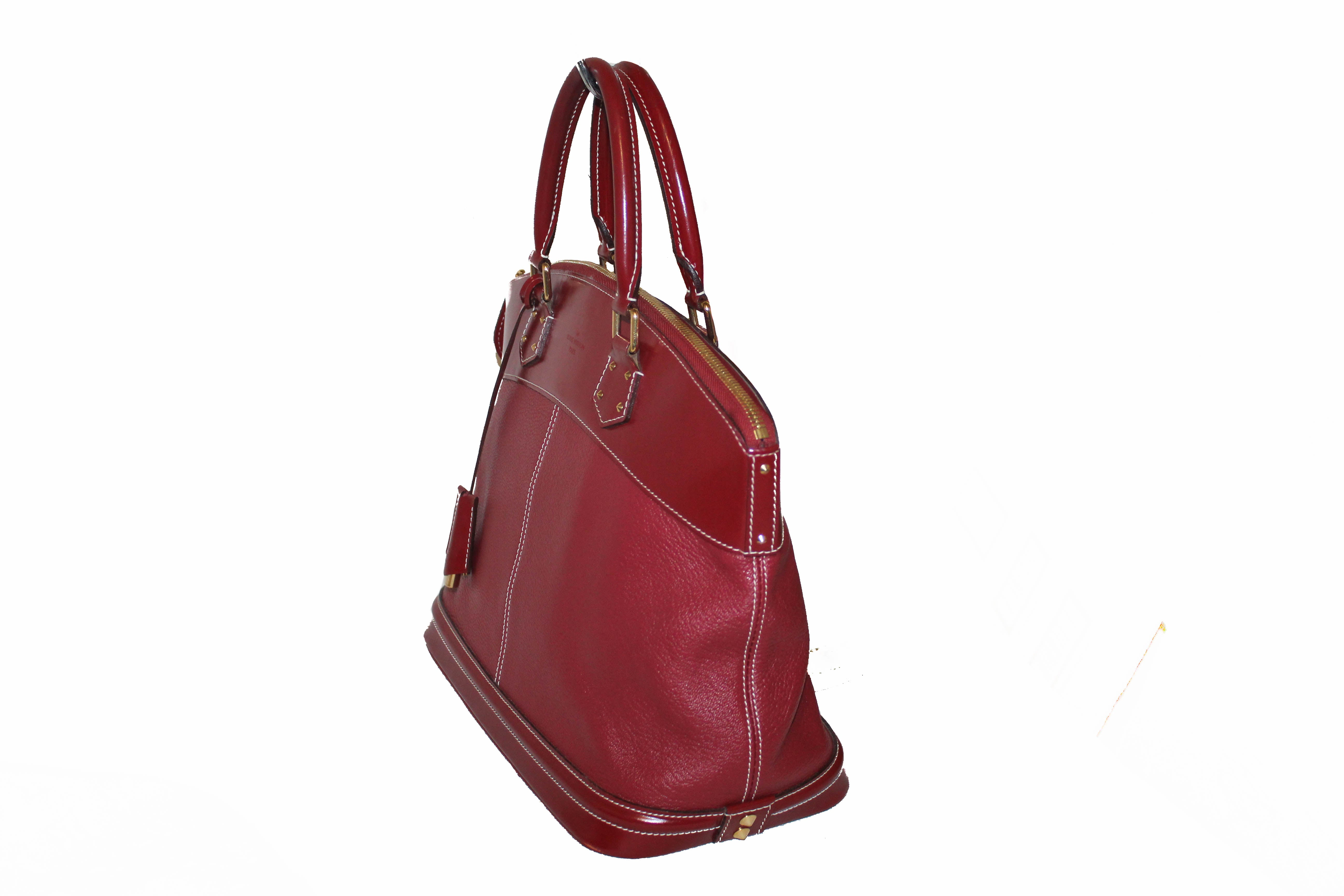 Authentic Louis Vuitton Suhali Red Lockit MM Handbag
