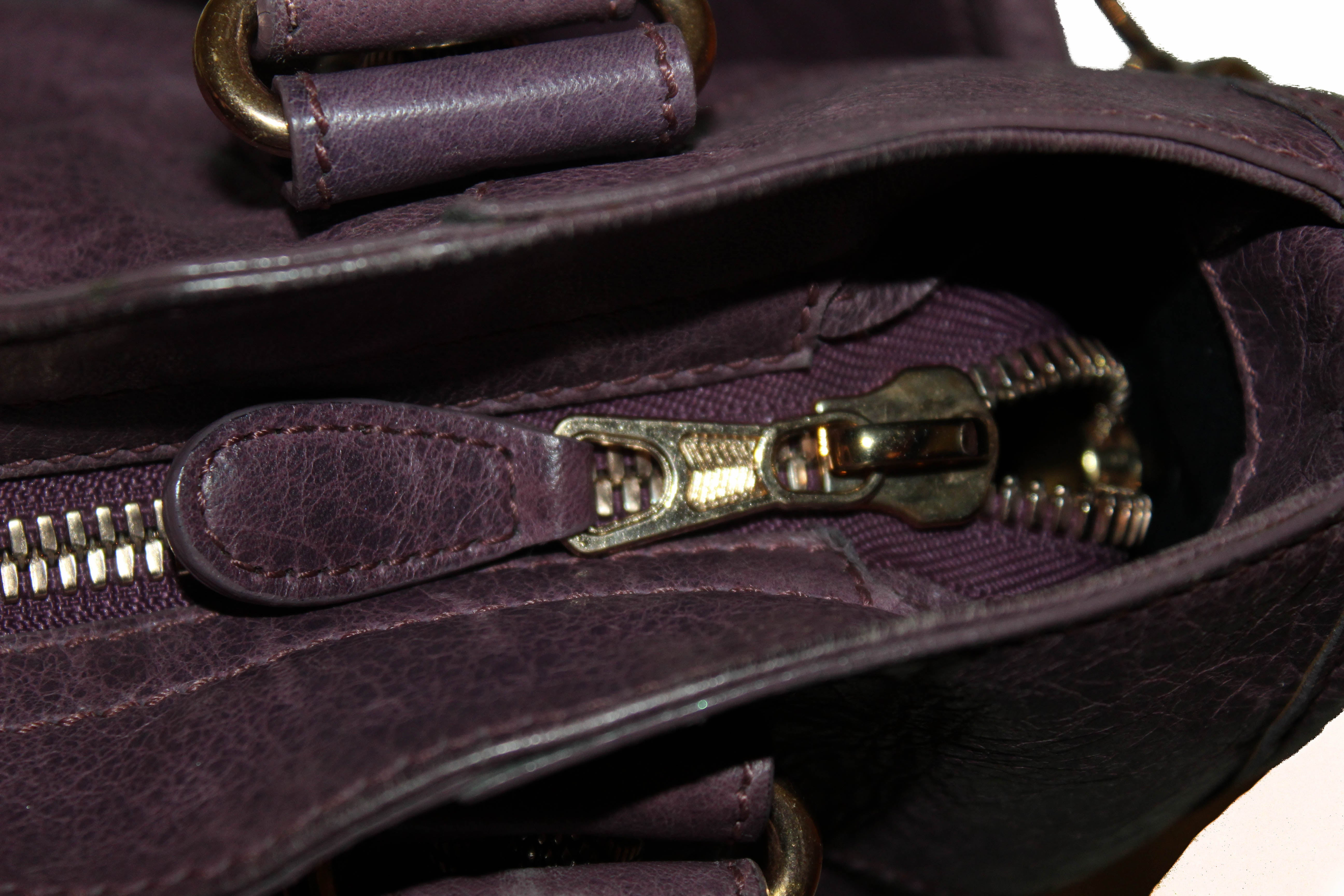 Authentic Balenciaga Violet Lambskin Leather Giant 21 City Gold Hardware Bag