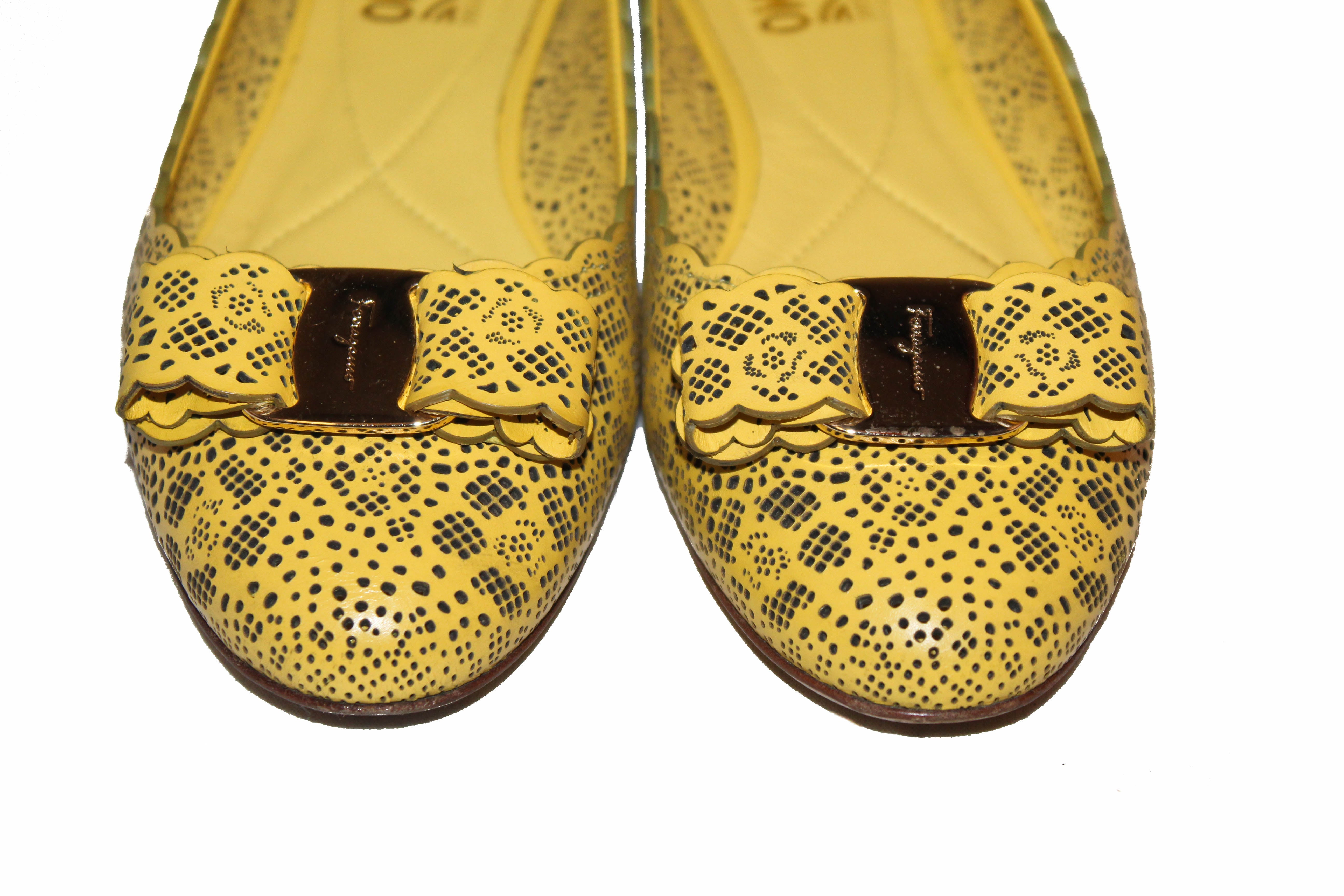 Authentic Salvatore Ferragamo Yellow Varina Laser Cut Calfskin Leather Flats Size 7C