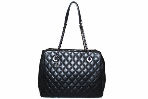 Authentic Chanel Black Quilted Lambskin Leather Large Tote Shoulder Bag