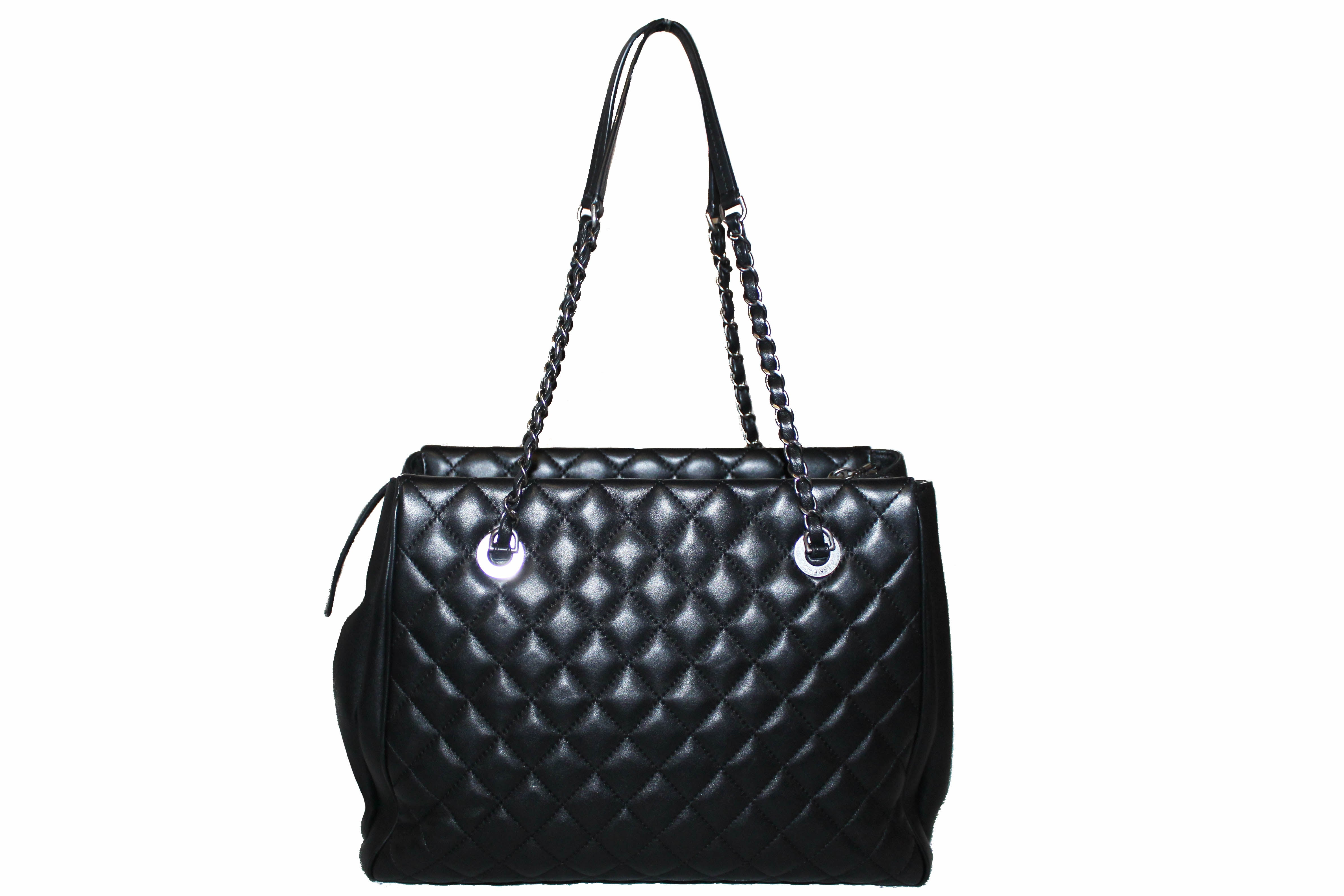 Authentic Chanel Black Quilted Lambskin Leather Tote Bag