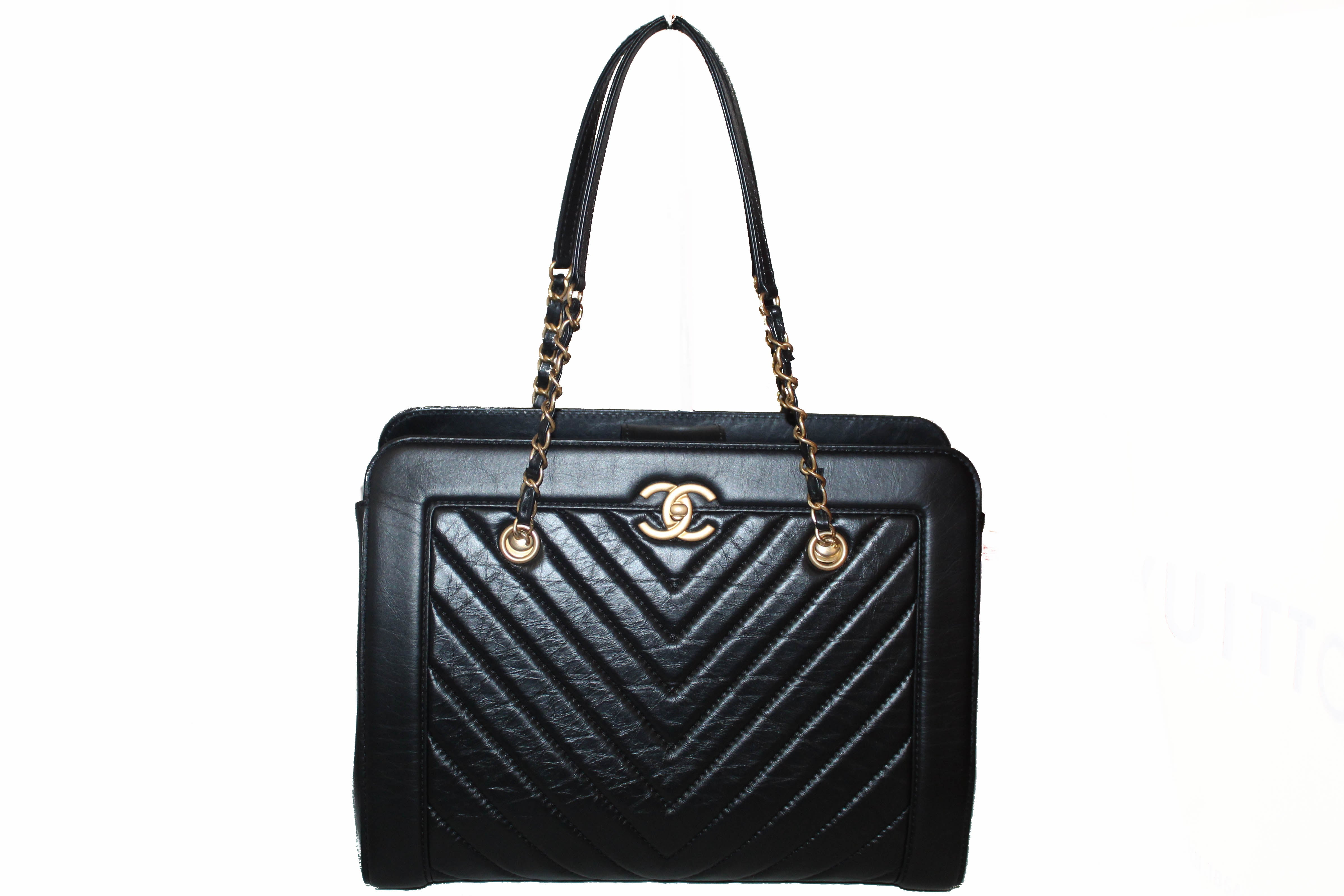 Authentic Chanel Chevron Quilted Black Vintage Calfskin Shopping Tote