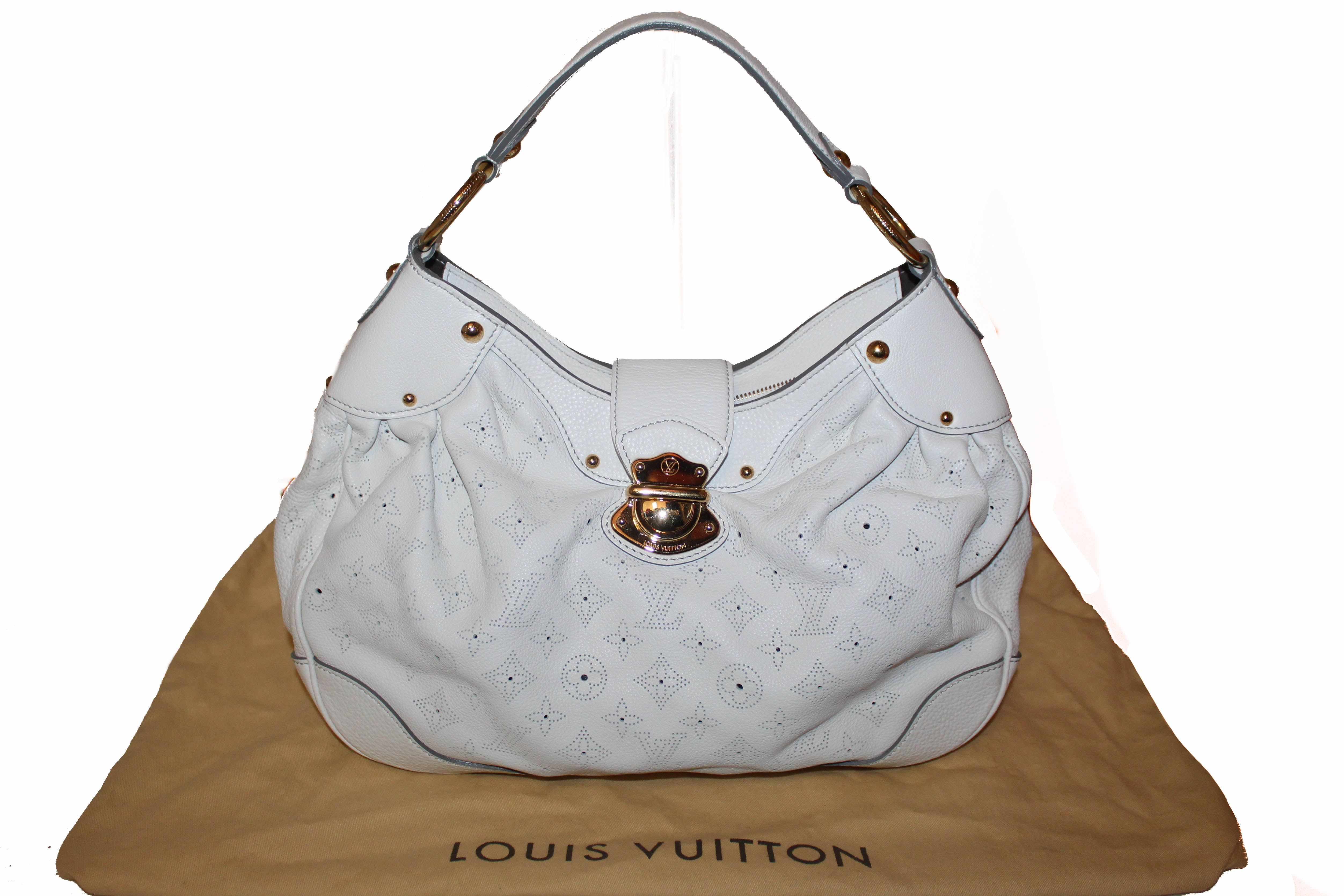 Authentic Louis Vuitton White Perforated Monogram Mahina Leather Solar PM Shoulder Bag