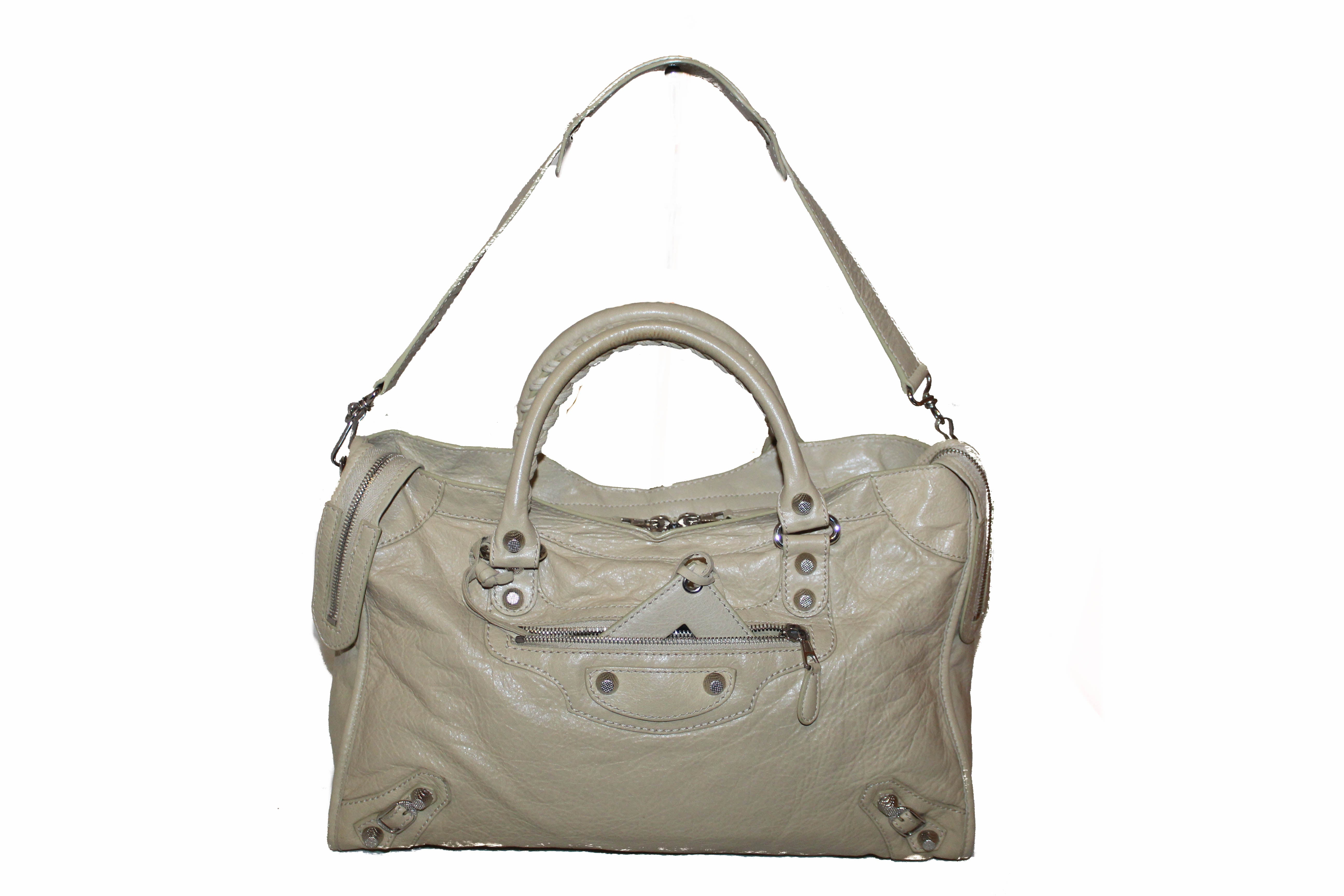 Authentic Balenciaga Classic City Lambskin Leather Silver Hardware  Shoulder Bag
