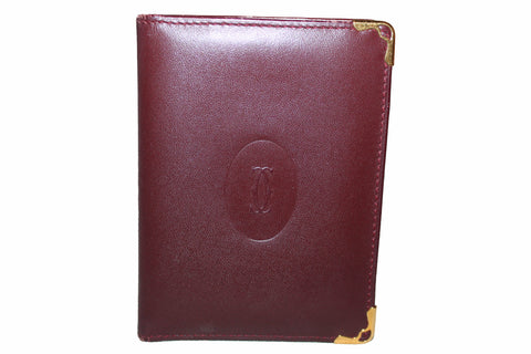 Authentic Cartier Burgandy Calfskin Leather Card Holder