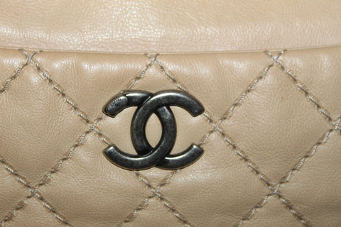 Authentic Chanel 31 Rue Cambon Paris Beige Stitched Quilted Lambskin Leather Tote Shoulder Bag