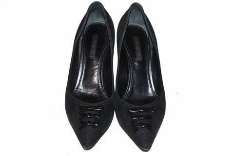 Authentic Louis Vuitton Black Suede Leather Bow Pointed Toe Pumps Size 37.5