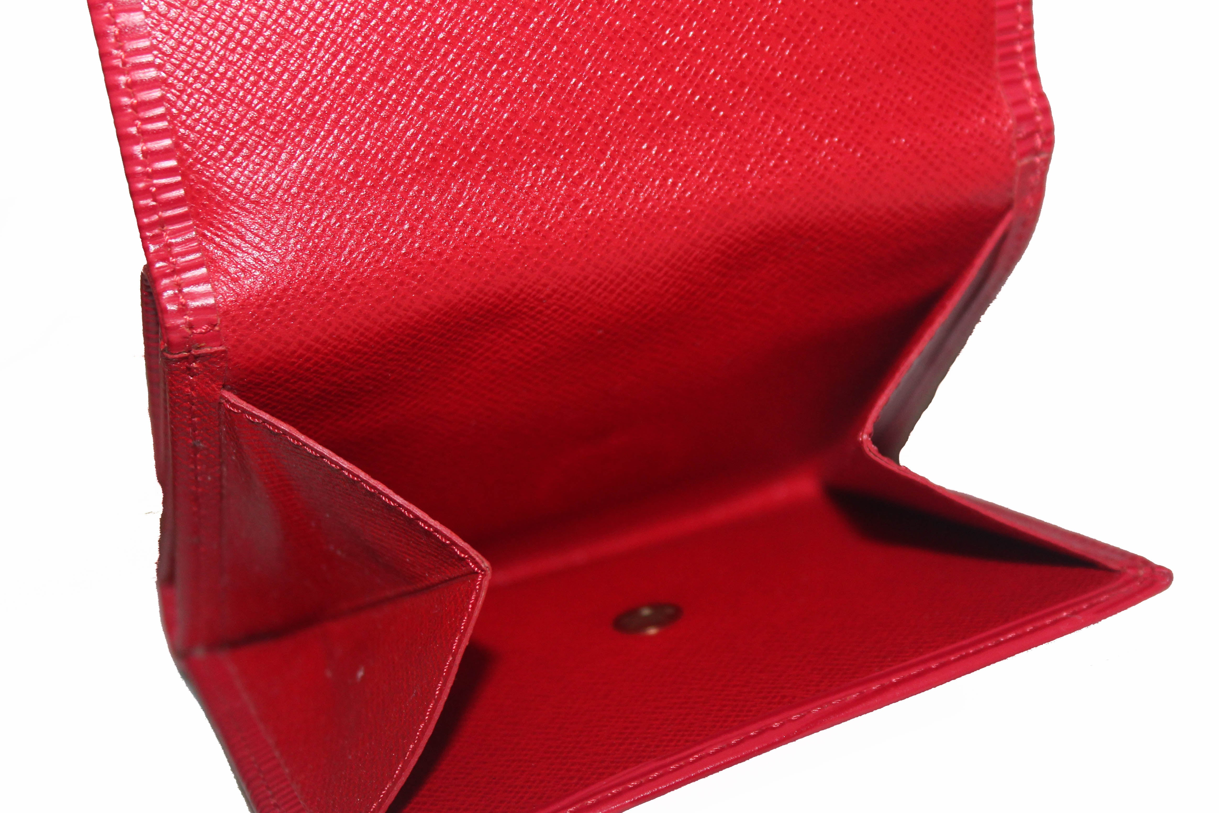 Authentic Louis Vuitton Red Epi Leather Trifold Compact Wallet