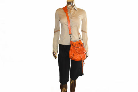 Authentic Balenciaga Orange Lambskin Leather Mini Pompon Bucket Crossbody