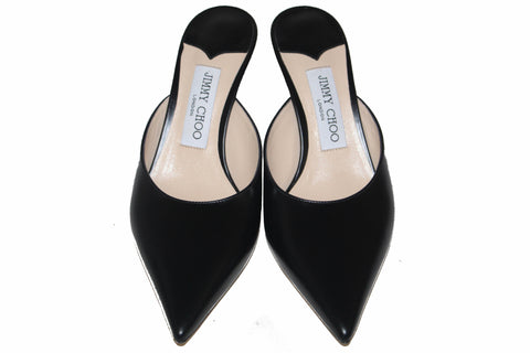 Authentic New Jimmy Choo Black Women's Rav 65 Pointed-Toe Kitten Heel Mules Size 37.5