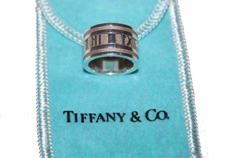 Authentic Tiffany & Co. Sterling Silver Wide Band Atlas Size 4